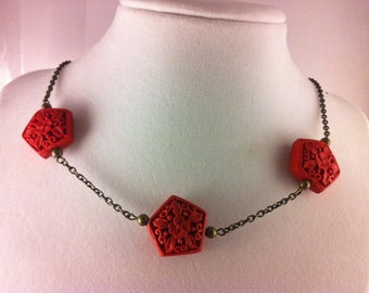 Red Cinnabar Bead Necklace