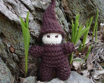 Waldorf Gnome, Brown - natural wool waldorf toy gnome baby, elf