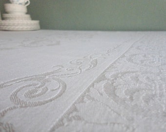 Gorgeous Damask Tablecloth 1940s
