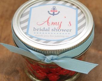 Set of 24 - 4 oz Mason Jar Bridal Shower Favors - Nautical Label Design - Wedding Favors, Baby Shower Favors, Favors, Party Favors