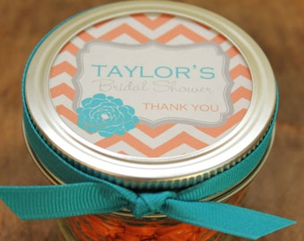Set of 24 - 4 oz Mason Jar Bridal Shower Favors - Delilah Label Design - Wedding Favors, Baby Shower Favors, Favors, Party Favors