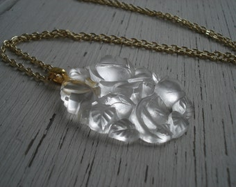 Lit from Within Vintage Antique Lalique Inspired Glass Flowers Pendant Gold Necklace Nature Woodland