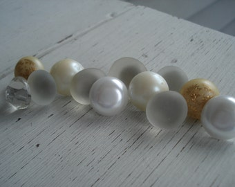 Winter Whites Frosted Beach Sea Glass Czech Pearls Antique Faceted Glass Push Pins Thumb Tacks Set of 12