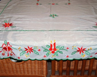 Vintage Holiday Tablecloth Candles and Poinsettias