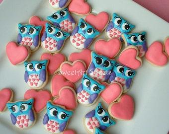 Valentines day cookies - Owl cookies and Hearts - Valentine MINI Cookies - 2 or 3 dozen