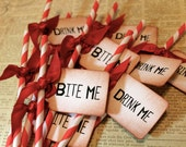 TRUEBLOOD Red & White Barber Pole Party Straws and Tags - Set of 12 - You Choose Ribbon Color