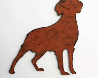 "Brittany Spaniel wall art - 24"" wide metal dog silhouette profile painted rusted steel"