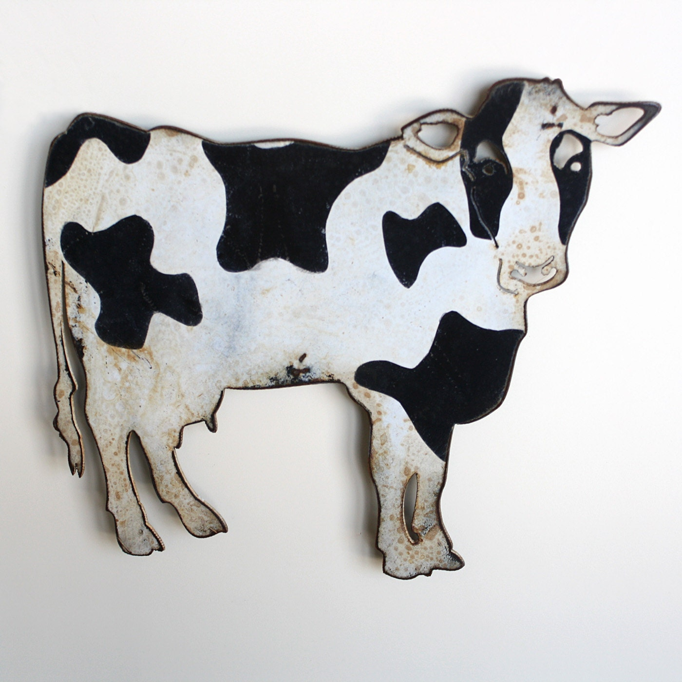 Black Cow Wall Decor : Cow metal wall art wide holstein milking