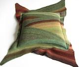 Diagonal Striped Cushion Cover - Natural Woolen Felted Throw Pillow Case 18x18 - Home Decor - Green Brown Terracotta - Early Autamn Palette