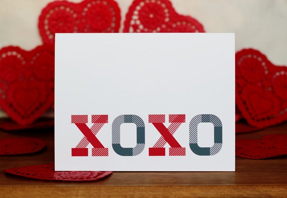 XOXO Greeting Card and Envelope - Red and Gray Typography Card - Hugs and Kisses