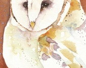 JONES barn owl totem Aceo watercolor PRINT spirit animal - Free Shipping