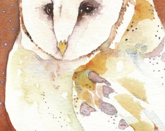 JONES barn owl totem Aceo watercolor PRINT spirit animal - Free Shipping