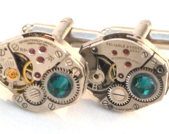 Steampunk - WATCH MOVEMENT CUFFLINKS - Tons of Cogs and Wheels - Vintage Neo Victorian - Rectangle  - GlazedBlackCherry gs