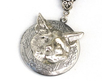 Steampunk - FOX HEAD Locket - Pendant - Necklace - Antique Silver - Neo Victorian - By GlazedBlackCherry