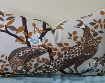 "Dwell Studio/Robert Allen Vintage Plumes in Birch - 12"" x 20"" Decorative Designer Lumbar Pillow Cover"