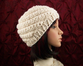 Hand knit hat - your color choice or cream - handmade Winter Fashion Winter Accessories by Sandy Coastal Designs