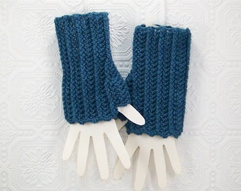 Crochet Fingerless Gloves Mittens - denim blue - handmade texting gloves Fall Fashion Winter Fashion by Sandy Coastal Designs ready to ship