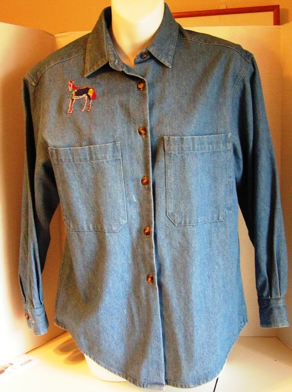 Ruff hewn denim shirt embroidered horses women s by