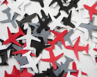 100 Mini White Red Gray Black Airplane punch die cut confetti scrapbook embellishments - No641