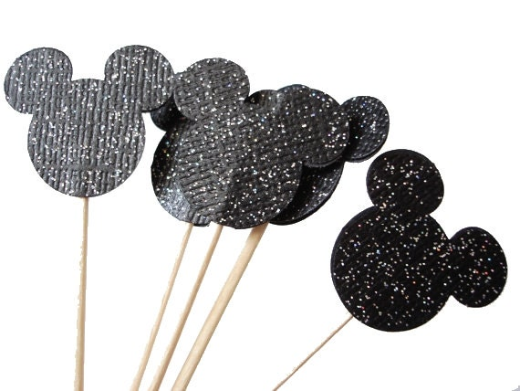 24 Glittered Black Mickey Mouse Party Picks, Cupcake Toppers, Food Picks, Toothpicks, Drink Picks - No904