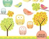buy2get1 clipart set - whimsical owls and birds