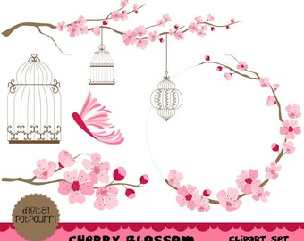 cherry blossom clipart set for scrapbooking, card making -