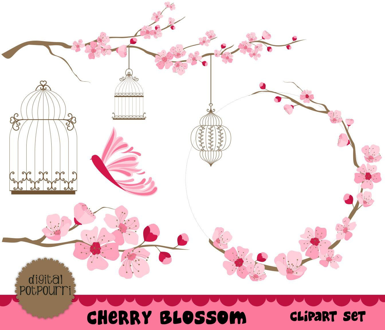 cherry blossom clipart set for scrapbooking card making