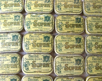 A Flea Market Find Early Vintage French pins  tin box.
