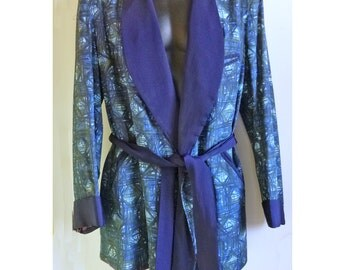 REDUCED 1940s-1950s Atomic Tiki Abstract Man's Smoking Jacket