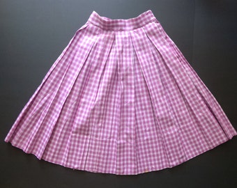 1950's Purple and white Box Pleat cotton plaid skirt