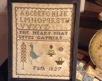 Primitive Early Style Faith 1827 sampler Repro