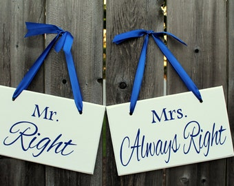 """6"""" x 10"""" Wooden Wedding Sign: 2pc Set Double sided - Mr. Right & Mrs. Always Right and Thank You"""