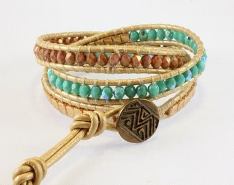 Turquoise Leather Triple Wrap Bracelet - Turquoise and Gold - Beaded Leather Bracelet