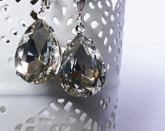 Clear  Estate Pear earrings crystal vintage bridal bridesmaids long estate old hollywood