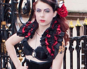 Lady Lucia RED Opera Shrug BURLESQUE Gothic STEAMPUNK Decadant Luxe By Gothic Burlesque