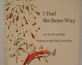 Vintage  I feel the Same Way Poetry  1960s childrens book by Lilian Moore Paperback Book in Black and tan and Gold