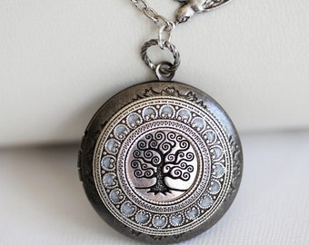 Tree of life,Jewelry,Locket Pendant Necklace,Silver Locket,Leaf,Tree,Bird,Antique Style,Jewelry Gift,Locket Necklace,Wedding Necklace