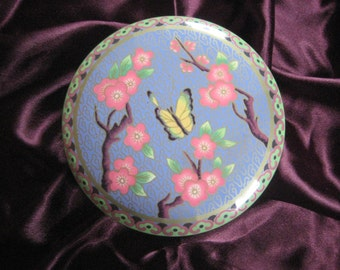 Vintage Butterfly Cherry Blossom Tin