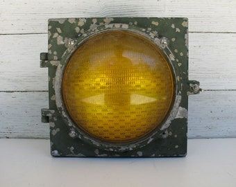 Vintage Econolite Traffic Signal E-951 Amber Glass