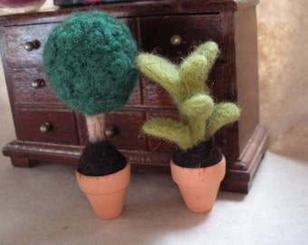 Two miniatures dollhouse wool felted  evergreen plants....