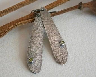 Sterling Silver & Peridot  Dragonfly Wing Earrings