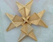 Trifari Art Deco Style Brooch Geometric Pin Brushed Goldtone Cross Vintage Jewelry