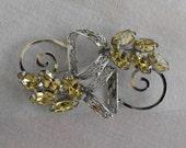 Stunning Vintage 12K GF Peridot Rhinestones Filigree Brooch Pin Marquise Navette Cut Jewelry