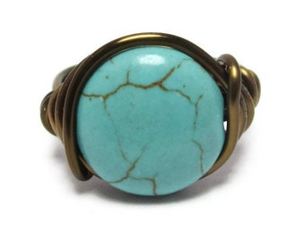 Turquoise Jewelry - Boho Ring - Wire Wrapped Jewellery - Bohemian Rings