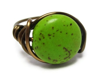 Green Hippie Ring - Bohemian Jewelry - Custom Size Wire Wrapped Rings