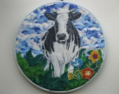 Textile Collage Wall hanging.    Unique, Handmade  Country Flowers and Cow. 10 inches