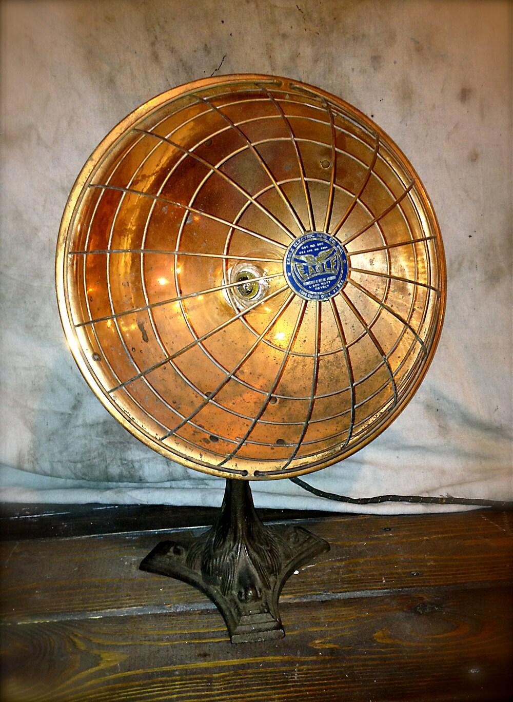 Vintage Copper Table Lamp Radiant Heater 1920s Repurposed