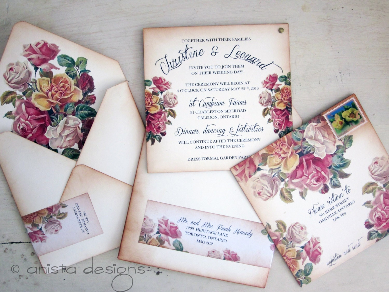 Boho Chic Wedding Invitations: Vintage Wedding Invitation Boho Chic Victorian By