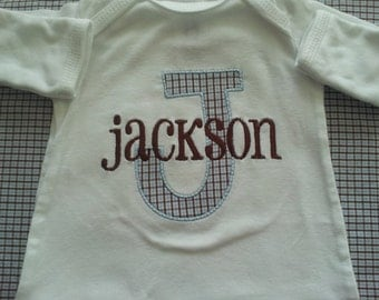 Newborn Baby Boy white layette with large applique letter