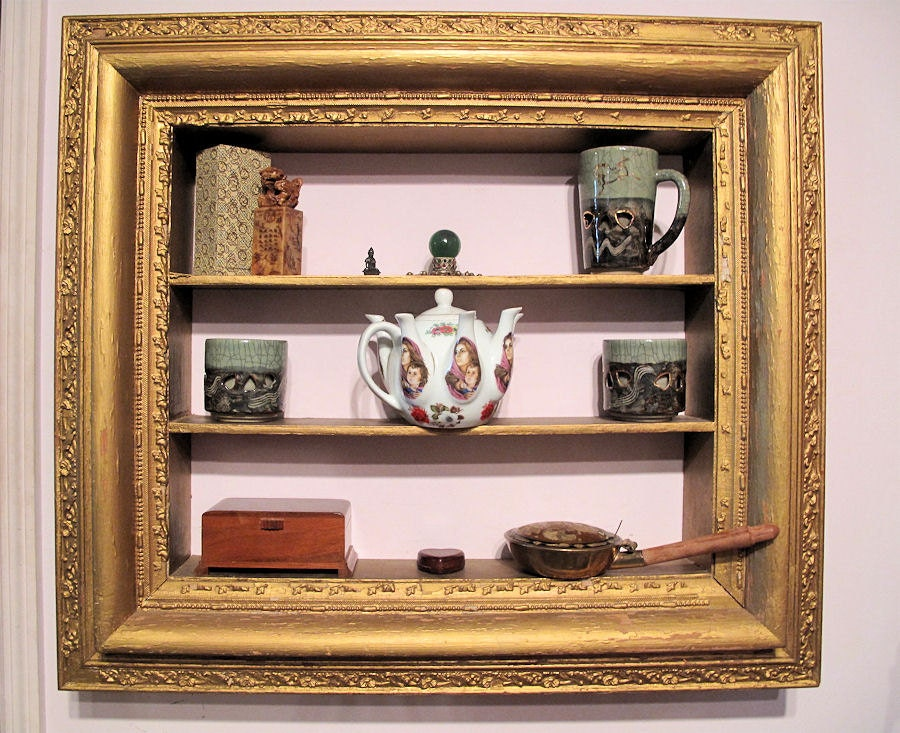 Shadow Box Display Shelf Ornate Gold Painted Wooden Frame